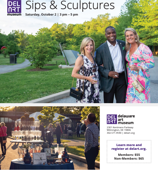Please join the Delaware Art Museum and Frank's Wine on Saturday, October 2 from 3 pm – 5 pm for Sips and Sculptures. Roam our beautiful sculpture garden while enjoying tastings of 24 different wines! Wines will be paired with unique characteristics of some of our most beautiful sculptures. Charcuterie board and souvenir wine glass included! Questions? Please contact Maggie Oda Lyon at 302.351.8538 or modalyon@delart.org.